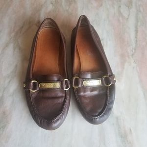 Coach brown leather loafers